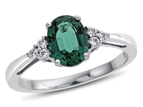 Finejewelers 10k White Gold 8x6mm Oval Created Emerald and White Topaz Ring Size 5
