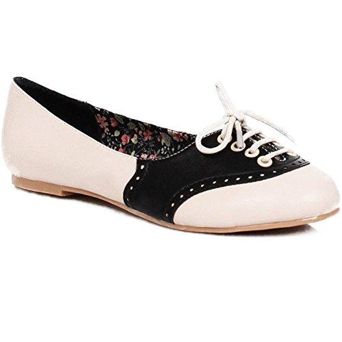 Halle Oxford Bettie Women's Page Black Flat Shoes TwtxAtvqO