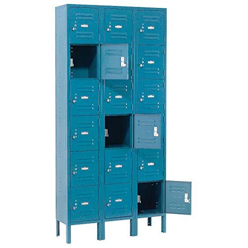 - Six Tier Locker, 12x12x12, 18 Door, Ready To Assemble, Blue, Lot of 1