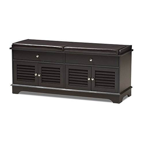 Drawer Bench 2 Leather - Baxton Studio Leo Modern and Contemporary Dark Brown Wood 2-Drawer Shoe Storage Bench/Contemporary/Brown/Dark Wood/Particle Board/MDF