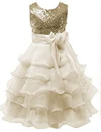 Little/Big Girls Sequins Ruffled Flower Girl Birthday Pageant Dress