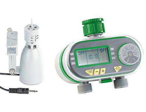 Royal Gardineer Digitaler Bewässerungscomputer BWC-200 mit 2 Anschlüssen & Regensensor