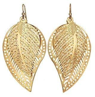 Gold Plated Avon (Avon Double Leaf Gold Plated Dangling Earrings 2