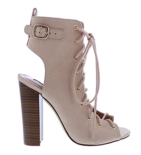Up Sage64 High Heel Chunky Booties Nude Front Nude Studded Lace Liliana wqFHIq