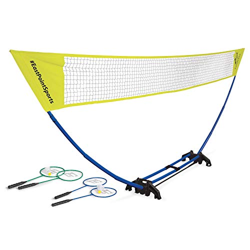EastPoint Sports Easy Setup Regulation Badminton Set with Carry Storage Base, Net, 4 Rackets and 2 Shuttlecocks