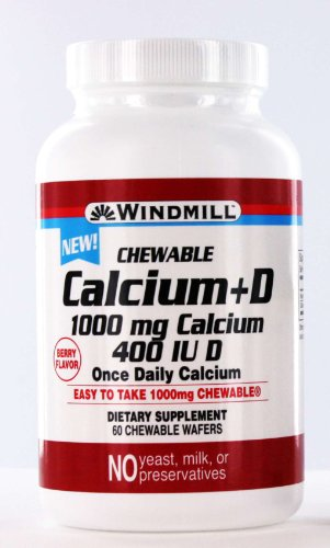 Windmill Calcium +D 1000mg Calcium 400 Iu D Chewable Wafers - 60 Ea