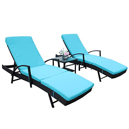 LEAPTIME Patio Lounge Chair Pool Sunbed Rattan Chaise with Armrest 5 Position Adjustable Black PE Wicker Outdoor Furniture with Turquoise Cushion (3 Piece, Turquoise)