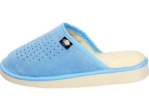 Ecoslippers - Zapatillas de estar por casa de Ante para mujer Azul
