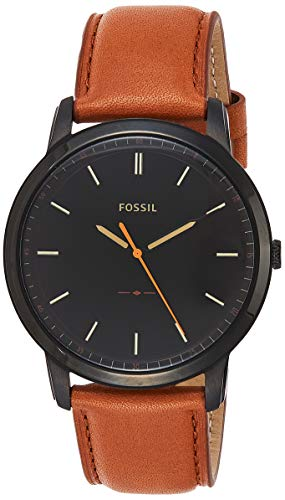 Fossil Men's The Minimalist Quartz Stainless Steel and Leather Casual Watch, Color: Black, Brown (Model: FS5305) (Fossil Watches Black Leather)
