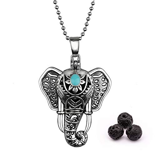 Antique Silver Luck Elephant Locket Lava Rock Perfume Essential Oil Aroma Diffuser Pendant Necklace Holiday Gift (Holiday Pendant)