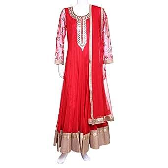 Kalaniketan Red Festive Anarkali Set For Women