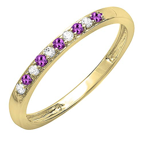 Dazzlingrock Collection 10K Round Amethyst & White Diamond Ladies Wedding Band Ring, Yellow Gold, Size 7 Amethyst Ladies Fashion Gold Ring
