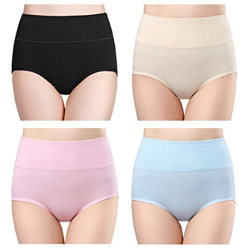 (wirarpa Womens Cotton Underwear 4 Pack High Waist Briefs Light Tummy Control Ladies Comfort Stretch Panties Underpants Size L Multicolored)