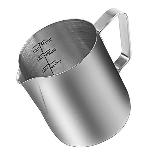 Milk Frothing Pitcher, Stainless Steel Creamer Frothing Pitcher, Perfect for Espresso Machines, Milk Frothers, Latte Art 20 oz (600 ml) ()