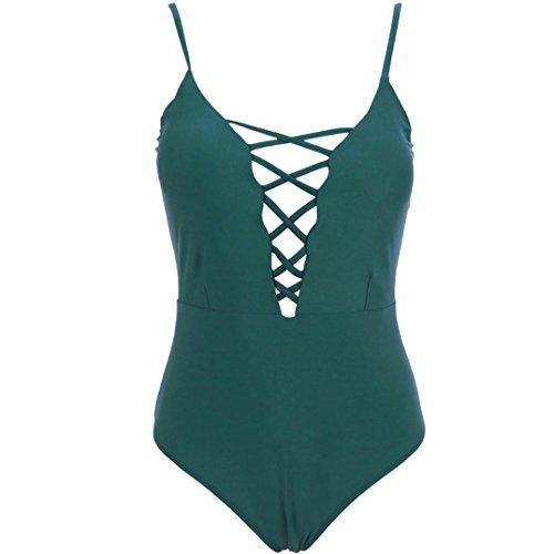 SHOBDW Mujer Color sólido Atado con correa una pieza Traje De Baño Bikini Verdor
