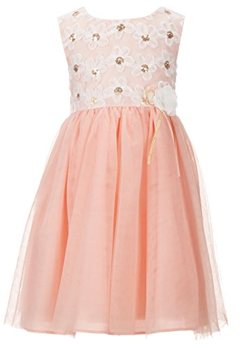 (Bonnie Jean Little Girls Ballerina Peach Sequin Embellished Bonaz mesh Dress, Peach, 4T)
