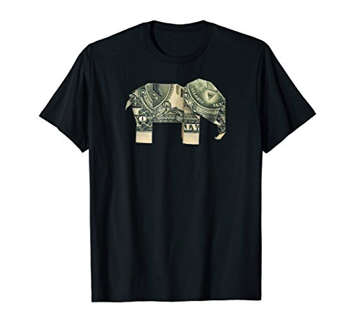 Dollar Bill Origami Elephant T-Shirt-Good Luck Shirt