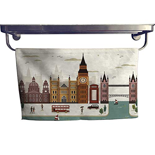 - London Pool Gym Towels Attractive Travel Scenery Famous City England Big Ben Telephone Booth WestminsterMulticolor Towel W 10