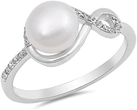 Sterling Silver Freshwater Cultured Pearl & CZ Ladies Ring 9mm ( Size 5 to 10 )