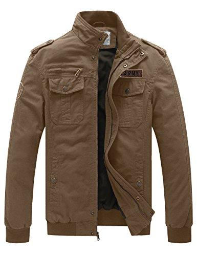 WenVen Men's Fall Casual Cotton Air Force Jacket (Khaki,US Size L) (Style Fall Men)