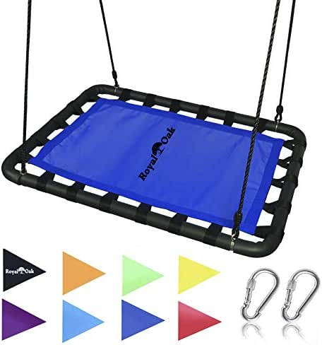 Royal Oak Giant Platform Tree Swing, Bonus Protective Swing Cover and Flags, 700 lb Weight Capacity, Easy Install, Steel Frame