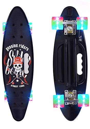 ChromeWheels Skateboard 23 inch Complete Skate Board Mini Cruiser with LED Light Up Wheels for Kids Boys Youths Beginners, Black (Up Deck Skateboard Light)