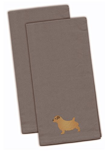 (Caroline's Treasures BB3409GYTWE Norfolk Terrier Gray Embroidered Kitchen Towel (Set of 2), 28
