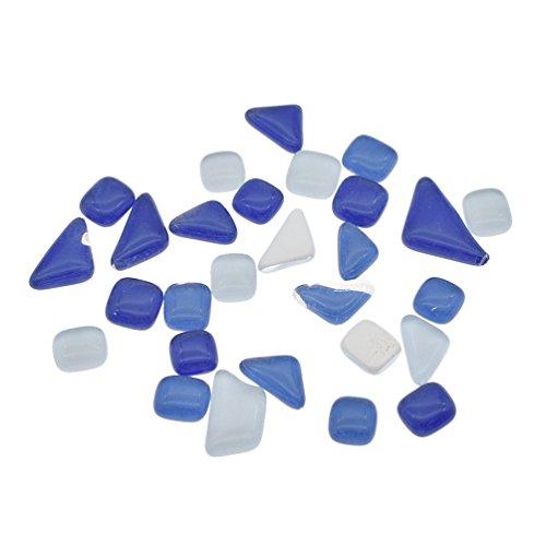 Tile Bead Aquarium (Kesheng Mosaic Glass Beads Pebbles Stones 100g Mixed Color Irregular for Crafts Aquarium Fish Tank Decoration Garden Tiles)