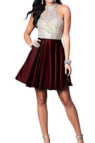 Rueckenfrei Weinrot Brautjungfernkleid Ivydressing Damen Ballkleider Perlen Kurz Zaertlich Abendkleid 778xE
