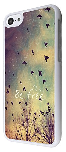 555 - Cool Be Free Birds Sky and Clouds Cute Natural Look Design iphone 5C Coque Fashion Trend Case Coque Protection Cover plastique et métal - Blanc