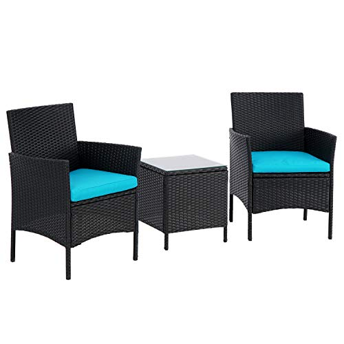 BonusAll 3 Pieces Patio Bistro Set Outdoor Furniture Sets Black Wicker Patio Chairs with Coffee Table and Light Blue Cushion