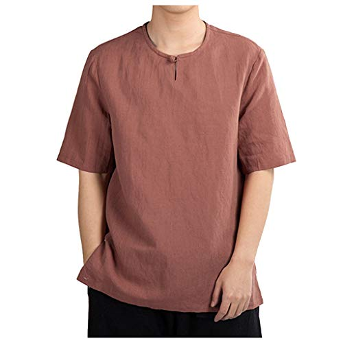 (Beautyfine Men's Cotton Linen Short Sleeve T-Shirts Summer Casual Pure Color Top Watermelon Red)