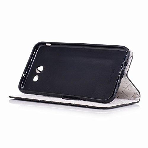 Yiizy Samsung Galaxy J7 (2017) Custodia Cover, Amare Design Sottile Flip Portafoglio PU Pelle Cuoio Copertura Shell Case Slot Schede Cavalletto Stile Libro Bumper Protettivo Borsa (Nero)