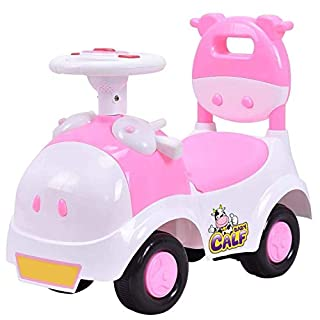 POCO DIVO Baby Calf 3-in-1 Walker Low-seat Ride On Toy Sliding Car Pushing Cart with Sound - Pink