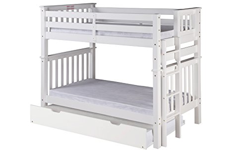 Santa Fe Ladder - Camaflexi Santa Fe Mission Tall Bunk Bed End Ladder with Under Bed Trundle, Twin over Twin, White