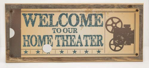 123RoyWarner Welcome to Our Home Theater Metal Signs Framed On Rustic Barn ()