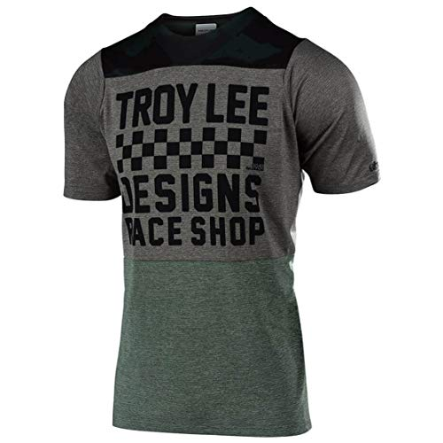 Camouflage Short Sleeve Jersey - Troy Lee Designs Skyline Short-Sleeve Jersey - Men's Checker Camo/Heather Taupe, XXL