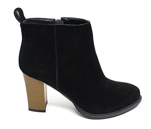 Guoar Mujer Closed Toe 8.5cm Block High Heels Botas De Caña Alta A-black