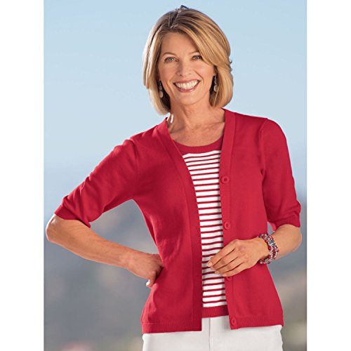 Bedford Fair Women's Plus Size Terrific Two-In-One Nautical Sweater - 2X Red