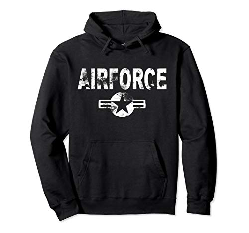 (Airforce Hoodie Cool Casual US Military Distressed Top Gift)