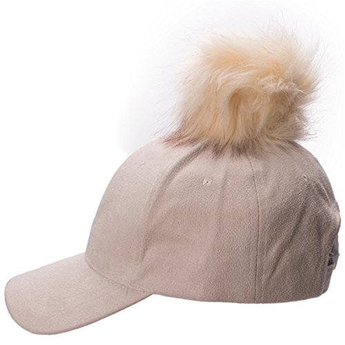 Lawliet Womens Adjustable Suede Baseball Cap Hip-Hop Hat Faux Fur Pom Pom  A383 - Beige -  Amazon.co.uk  Clothing 2dd1b4216bfb