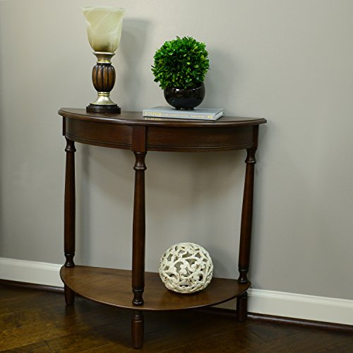 D cor Therapy FR1478 Half Round Console Table 28.25 x 11.8 x 28.25 Walnut