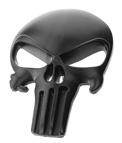 Skull 3d Motorcycle Auto Metal Emblem (Large, Black (Black Auto Emblem)