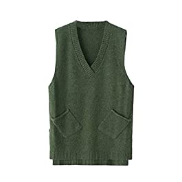 Qitun Womens V Neck Sleeveless Knitted Pullover Waistcoat Sweater Vest