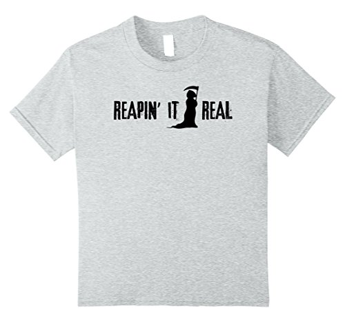 [Kids Reapin' it Real Grim Reaper Funny Pun Halloween Tshirt 10 Heather Grey] (Plus Size Mystic Witch Costumes)