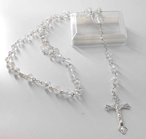 Christian Crystal Beads Rosary Catholic Necklace, Holy Immaculate Conception Medal & Cross Crucifix, Car Hanging, 1st Communion, Baptism, Wedding Favors