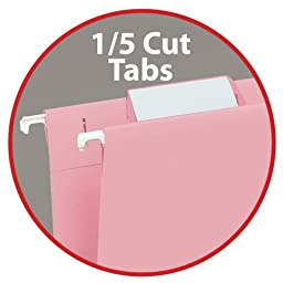 Smead Hanging File Folder with Tab, 1/5-Cut Adjustable Tab, Letter Size, Pink, 25 per Box (64066)