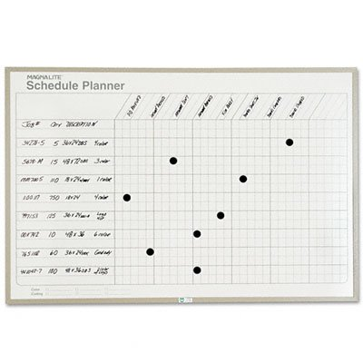 Magna Visual ML-234 Magna Visual Schedule Planning Board, Porcelain-On-Steel, 36 x 24, Gray by Magna Visual