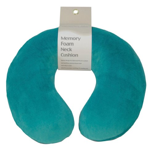 Aidapt Teal Super Soft Velour Luxury Firm Memory Foam Neck Support Cushion (Travelling,TV,Reading) (Eligible for VAT relief in the UK)