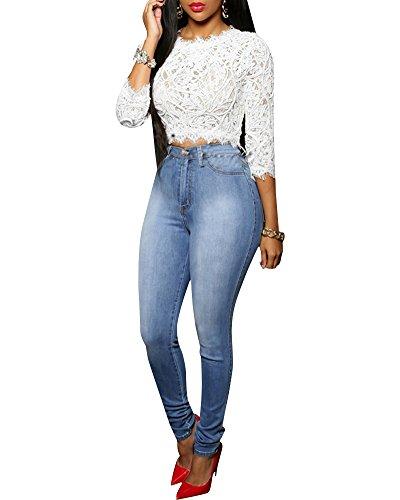 Femme Pantalon Jeans Slim Taille Haute Denim Leggings Collant Pants Bleu